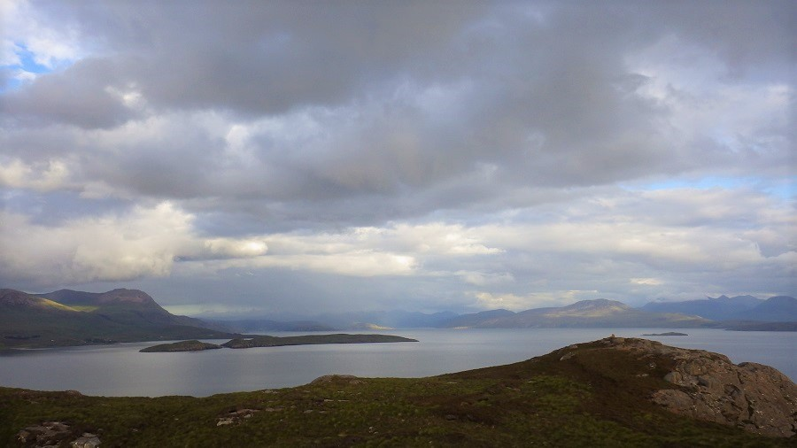 View from top of tanera Mor to Ullapool