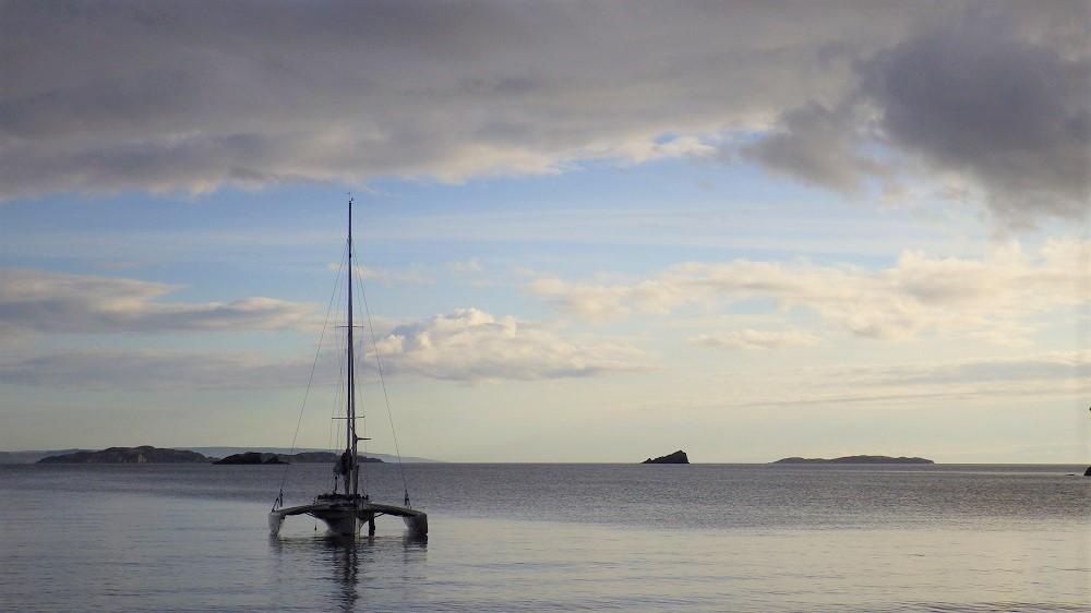 Yacht at anchor Summer Isles Scotland