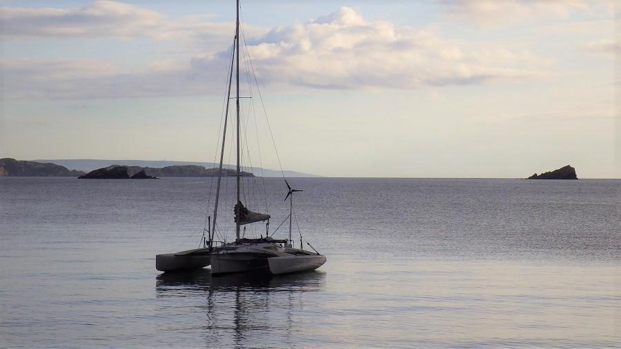 Yacht at anchor Scottish West coast