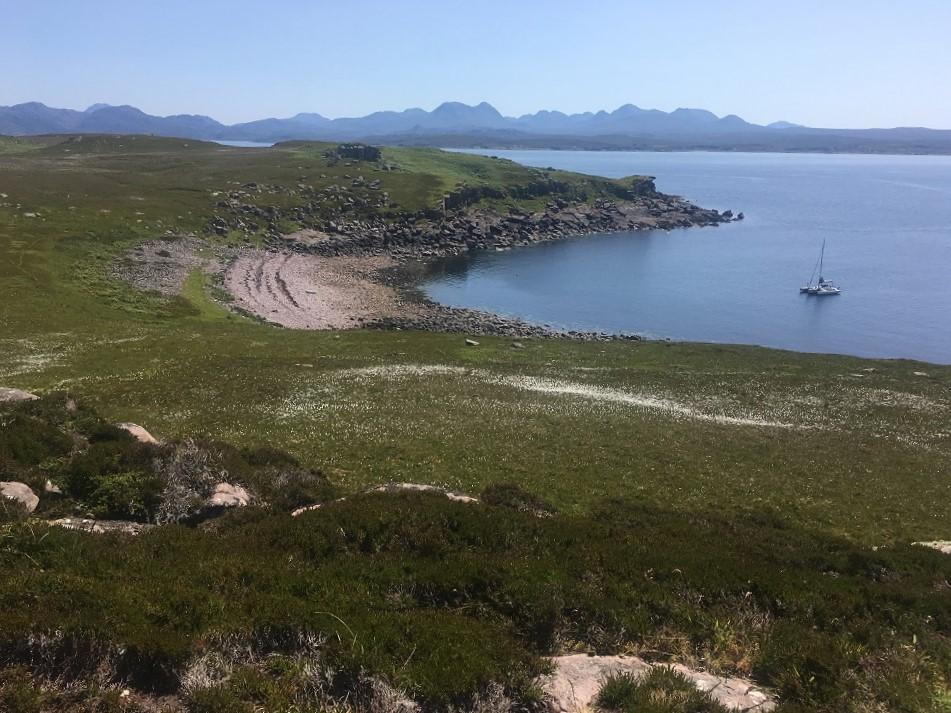 Yacht at anchor scottish island trimaran