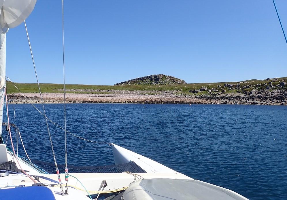 Yacht at anchor scottish island