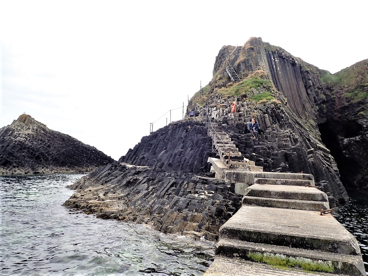 Visitor Staffa island Scotland