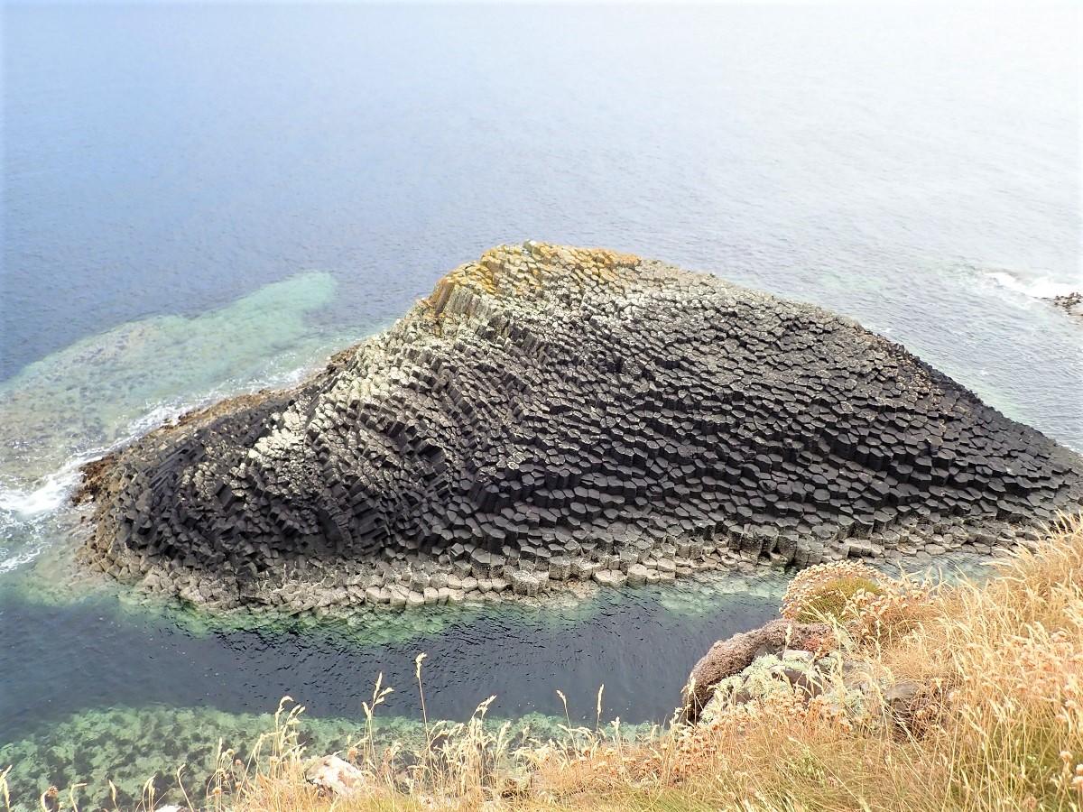 Staffa island reef basalt columns