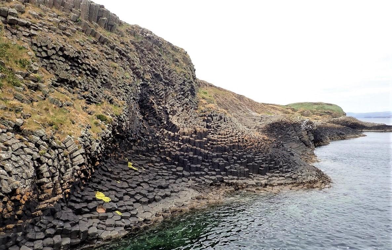 Staffa east shore basalt geology
