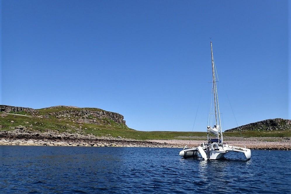 Trimaran at anchor Scotland