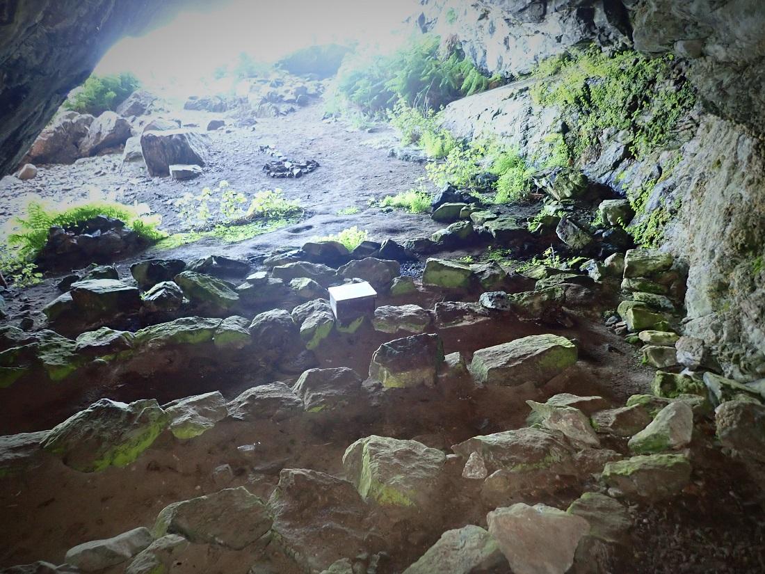 Sone pews Church cave Scottish Island of Rona
