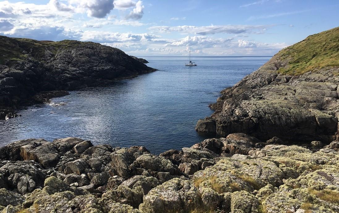 Yacht at anchor Scottish Island soyea