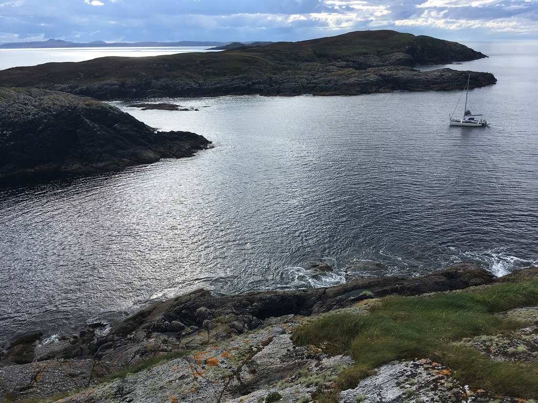 Yacht at anchor Scotland